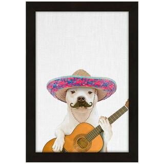 Dog Guitarist by Tai Prints Framed Print