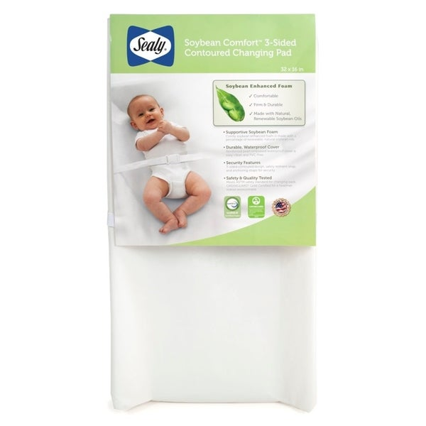 Sealy Soybean Comfort 3-Sided Contoured Changing Pad - White
