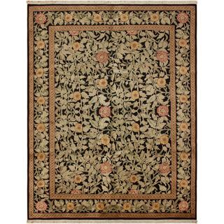 William Morris Pak-Persian Jasmine Black/Pink Wool Rug (8'1 x 10'3) - 8 ft. 1 in. x 10 ft. 3 in.