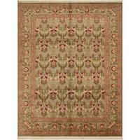 William Morris Pak-Persian Sandi Lt. Green/Red Wool Rug (8'1 x 10'4) - 8 ft. 1 in. x 10 ft. 4 in.