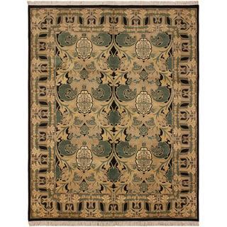 William Morris Pak-Persian Dino Tan/Black Wool Rug (8'0 x 10'3) - 9 ft. 2 in. x 12 ft. 2 in.