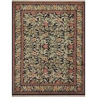 William Morris Pak-Persian Jasmine Black/Red Wool Rug (9'0 x 11'8) - 9 ft. 0 in. x 11 ft. 8 in.