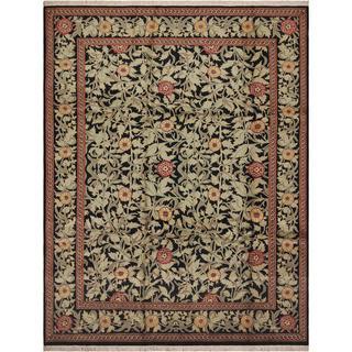 William Morris Pak-Persian Jasmine Black/Red Wool Rug (9'0 x 11'8) - 9' x 12'