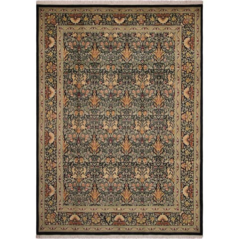 William Morris Pak-Persian Eve Black/Green Wool Rug (9'1 x 12'3) - 9 ft. 1 in. x 12 ft. 3 in.