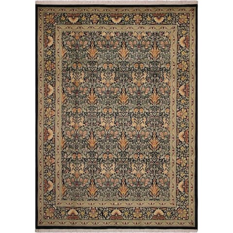 William Morris Pak-Persian Eve Black/Green Wool Rug (9'1 x 12'3) - 9 ft. 1 in. x 12 ft. 3 in. - 9 ft. 1 in. x 12 ft. 3 in.