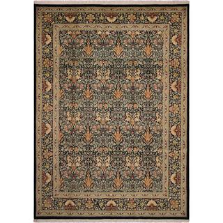 William Morris Pak-Persian Eve Black/Green Wool Rug - 9' x 12'