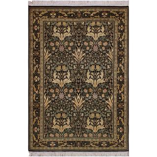 William Morris Pak-Persian Eve Black/Green Wool Rug (4'0 x 6'2) - 4 ft. 0 in. x 6 ft. 2 in.