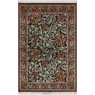 William Morris Pak-Persian Flora Black/Green Wool Rug (4'1 x 6'2)