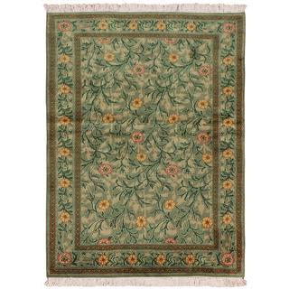 William Morris Pak-Persian Jasmine Lt. Green/Pink Wool Rug (4'1 x 6'2)