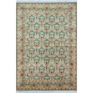 William Morris Pak-Persian Tulip Sage/Red Wool Rug (6'1 x 9'1)