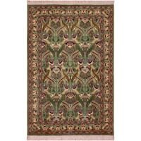 William Morris Pak-Persian Sandi Lt. Green/Red Wool Rug (4'1 x 6'3)