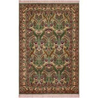 William Morris Pak-Persian Sandi Lt. Green/Red Wool Rug (4'1 x 6'3) - 4 ft. 1 in. x 6 ft. 3 in.