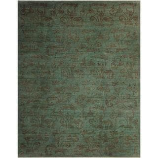 Over Dyed Color Reform Carita Lt. Green/Lt. Green Wool Rug (9'3 x 11'10) - 9 ft. 3 in. x 11 ft. 10 in.