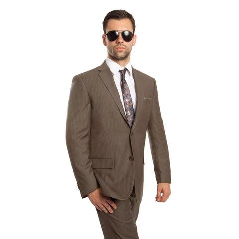 Men's Wool Suit Modern Fit Platinum Stripe 2 Pieces Notch Lapel Suit