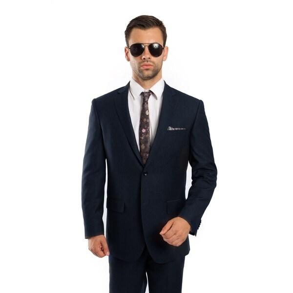 Men's Jacket Suit Modern Fit Platinum Stripe 2 Pieces Notch Lapel Suit