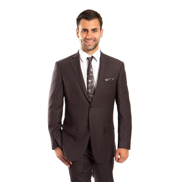 Mens Jacket Suit Modern Fit Platinum Stripe 2 Pieces Notch Lapel Suit