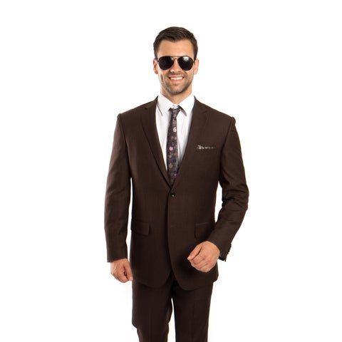 Men's Wool Suit Modern Fit Platinum Stripe 2 Pieces Notch Lapel Suit