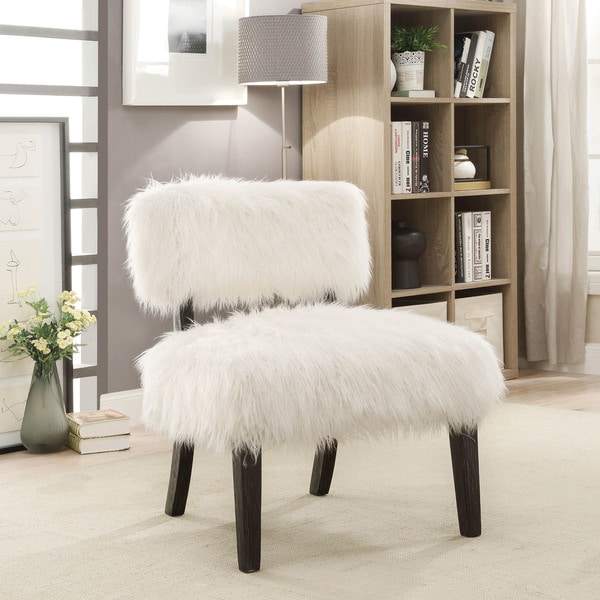 Furniture of America Lana Contemporary White Faux Fur Accent Chair. Opens flyout.