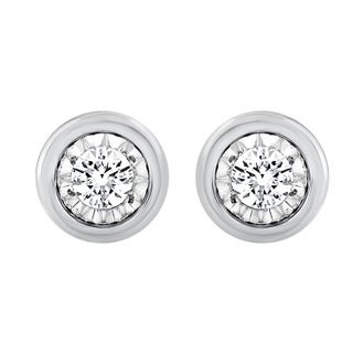 Limited Edition Collection Sterling Silver with Yellow and Pink Gold plated 1/10cttw Bezel look diamond Stud Earrings for Women (3 options available)