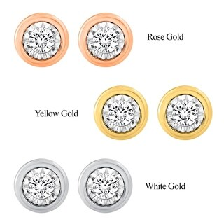 Limited Edition Collection Sterling Silver with Yellow and Pink Gold plated 1/10cttw Bezel look diamond Stud Earrings for Women