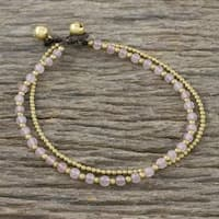 Handmade Brass 'Ringing Beauty' Rose Quartz Anklet (Thailand) - Pink