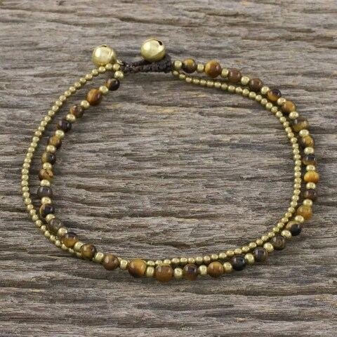 Handmade Brass 'Ringing Beauty' Tiger's Eye Anklet (Thailand)