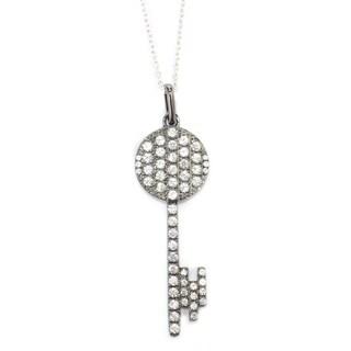 Pinctore Sterling Silver 1.46ctw White Zircon Key Pendant 1.75'L w/ 18' Chain