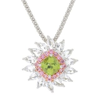 Pinctore Ster Silver Peridot,Pink Tourmaline White Topaz Pendant,18' Chain - Green