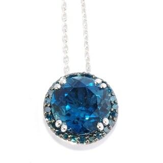 Ster Silver 5.8ctw London Blue Topaz & Blue Diamond Circular Pendant