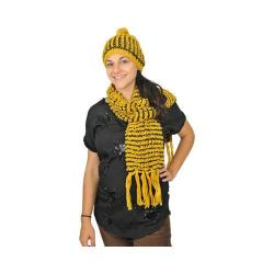 Women's J. Furmani Designer Collection Crochet Winter Scarf and Hat Set Yellow