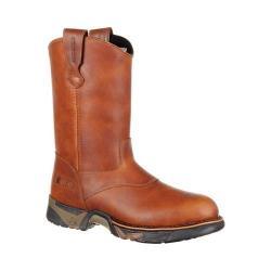 Men's Rocky 10in Aztec Hunting Pull-On Waterproof Boot RKS0332 Brown Full Grain Leather