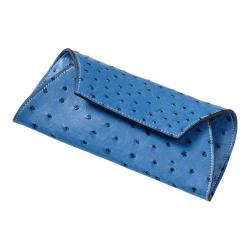Women's CLAVA Jemma Faux Ostrich Wallet Blue