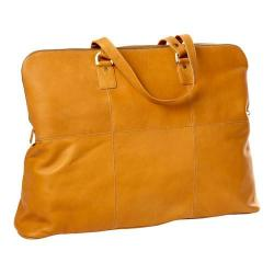 CLAVA Leather Aviator Travel Tote Tan