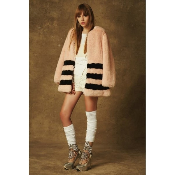 Plutus Luxury Faux Fur Three Stripe Jacket - Peach Color