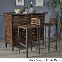 Leni 3-Piece Acacia Wood Bar Set by Christopher Knight Home