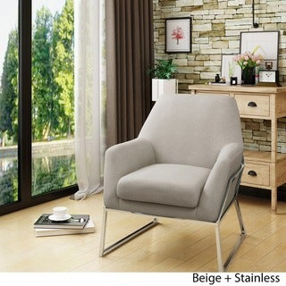Zahara Modern Fabric Stainless Steel Chair by Christopher Knight Home (Beige/Espresso)