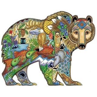 2 in 1 Jigsaw Coloring Puzzle Grizzly Bear