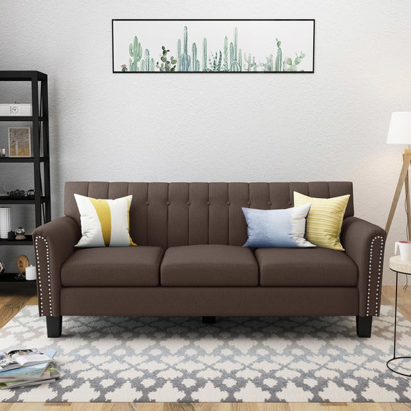 shop jacopo traditional fabric 3 seater sofa by christopher knight rh overstock com three seater sofas three seater sofa at rooms