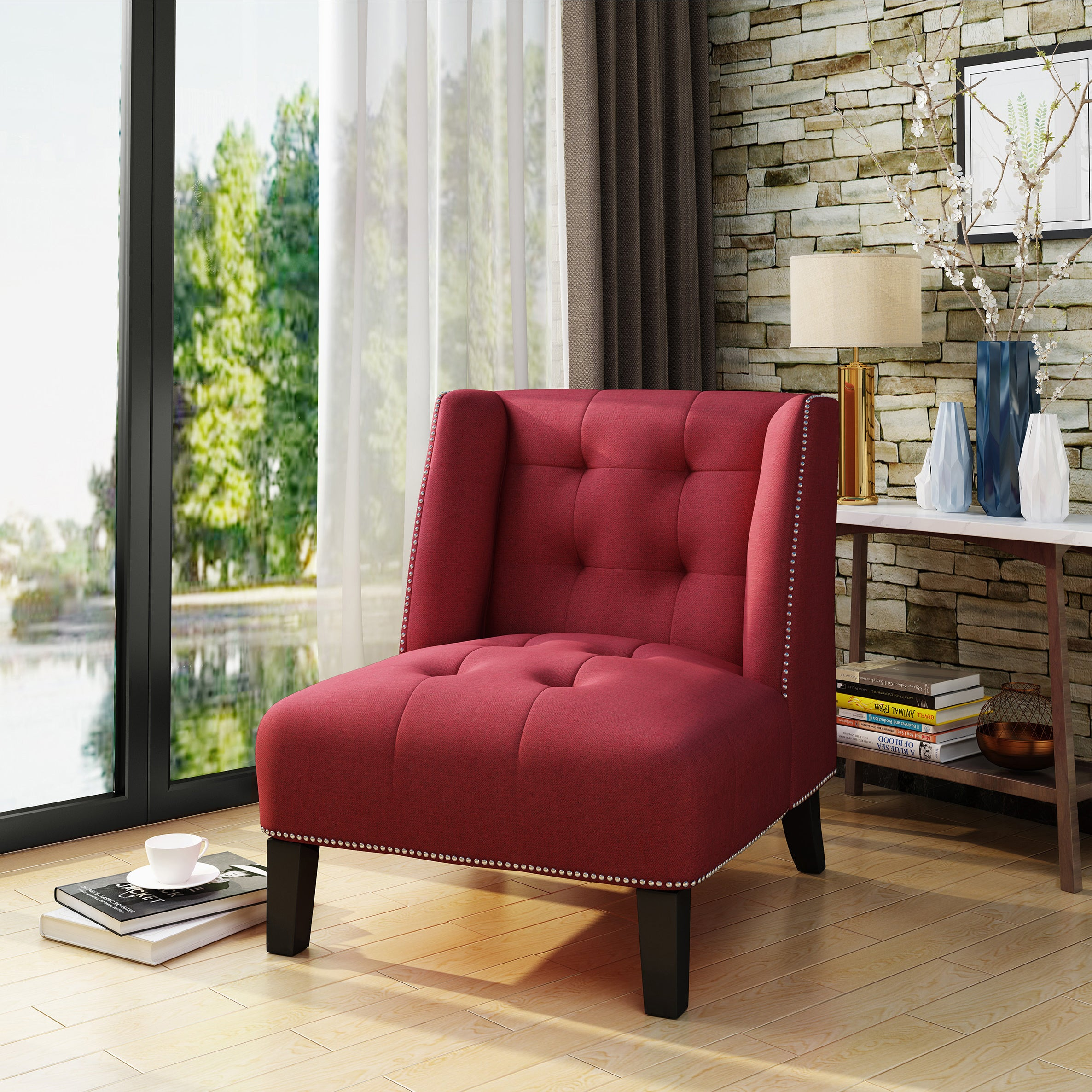 Takara Tufted Wingback Fabric Accent Chair By Christopher Knight Home