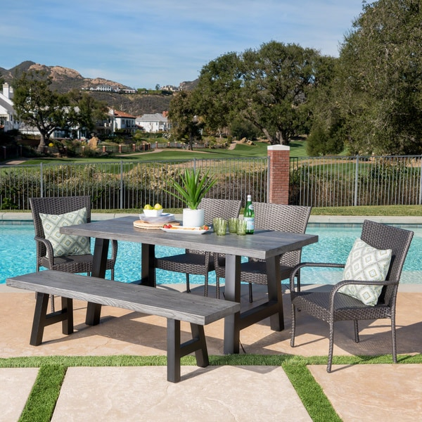Morrison Outdoor Rectangle Concrete Dining Set By Christopher Knight Home