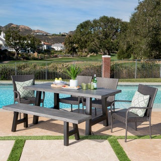 Morrison Outdoor 6-piece Rectangle Concrete Dining Set by Christopher Knight Home