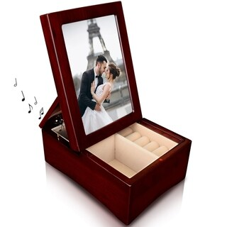 Ikee Design Wooden Glossy Musical Jewelry Box with 4x6 Photo Frame