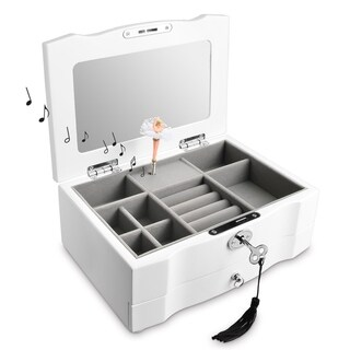 Ikee Design Wooden Locking Musical Jewelry Box with White Matte Finish