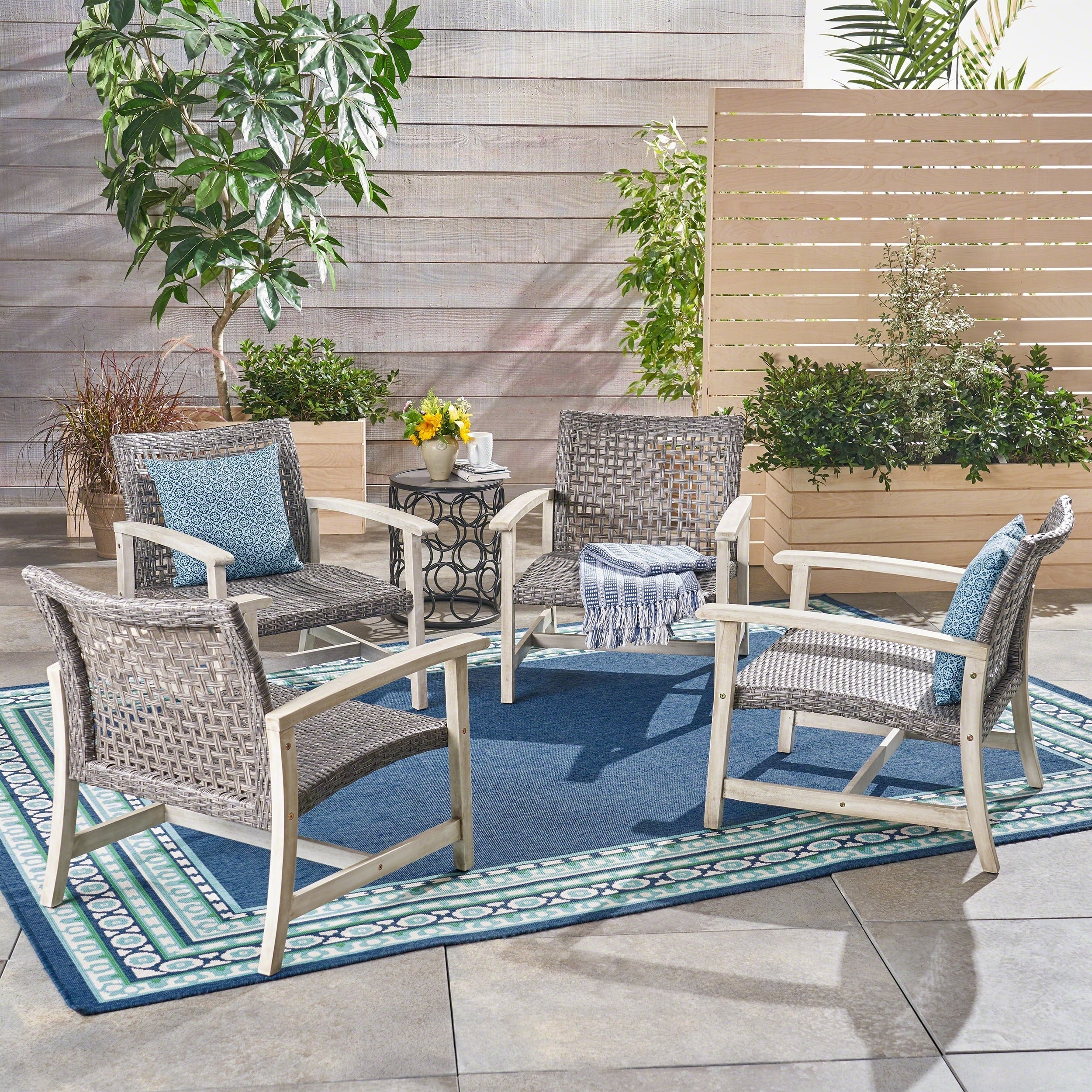 Hampton outdoor mid century wicker club chair set of 4 by christopher knight