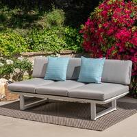Bronte Outdoor 3-seater Aluminum Sofa with Cushion by Christopher Knight Home