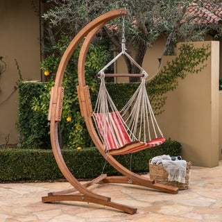 Griffith Outdoor Larch Wood Hammock Chair Swing with Water Resistant Fabric by Christopher Knight Home