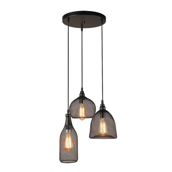 LNC 3-Light Industrial Pendant Lighting Loft Wire Mesh Ceiling ...