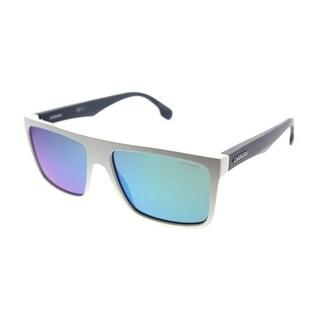 Carrera Rectangle Carrera 5039/S WWK Unisex Matte White Blue Frame Green Mirror Lens Sunglasses