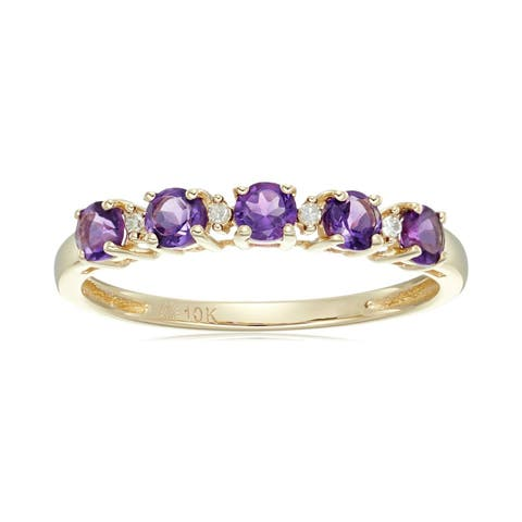 Pinctore 10k Yellow Gold African Amethyst & Diamond Stackable Ring, Size 7 - Purple