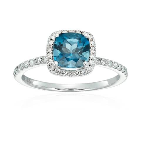 10k White Gold London Blue Topaz and Diamond Cushion Ring, Size 7
